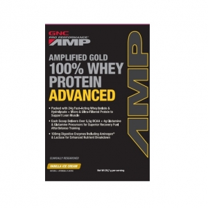 AMP Amplified Gold 100% advanced, Proteina din zer cu aroma de vanilie (29.7 grame 1 Plic), GNC Pro Performance
