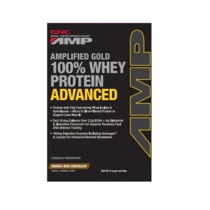 AMP Amplified Gold 100% Advanced, Proteina din zer cu aroma de coicolata (31 grame), GNC PRO PERFORMANCE