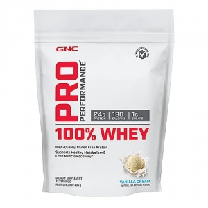 100% Proteina din zer cu aroma de crema de vanilie (408 grame), GNC PRO PERFORMANCE