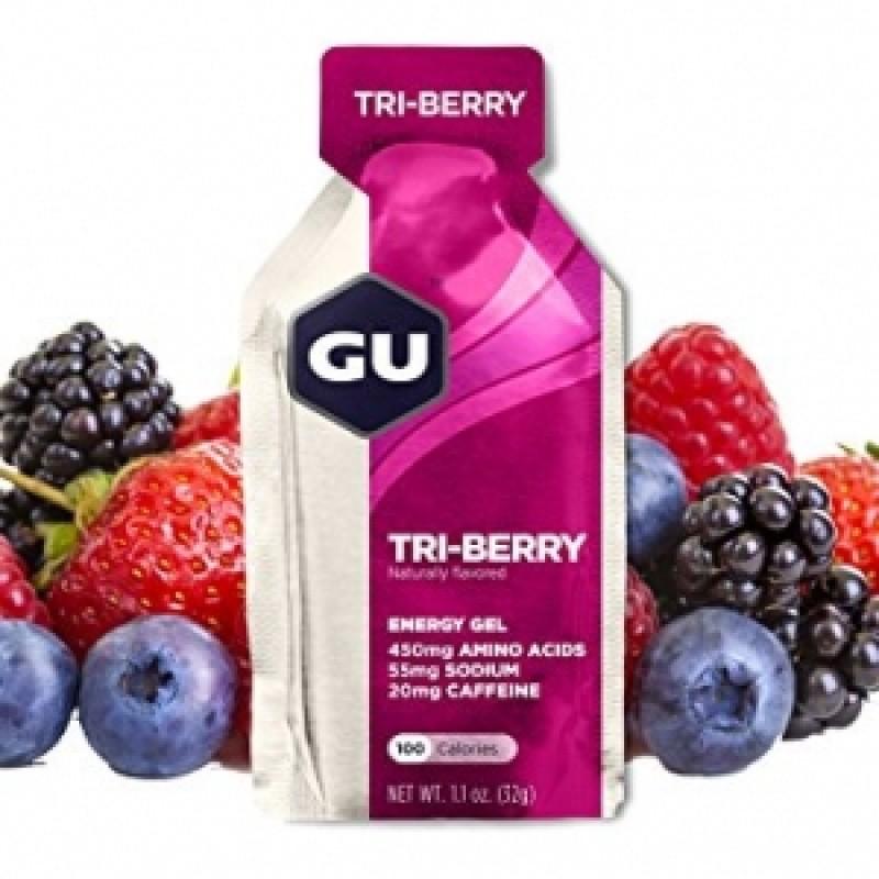 GU Gel energizant cu aroma Tri-Berry (32 grame), GNC