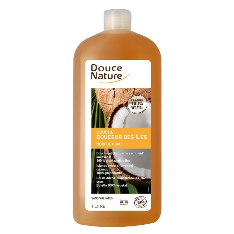 Gel de dus bio cu arome insulare fara sulfati (1L), Douce Nature