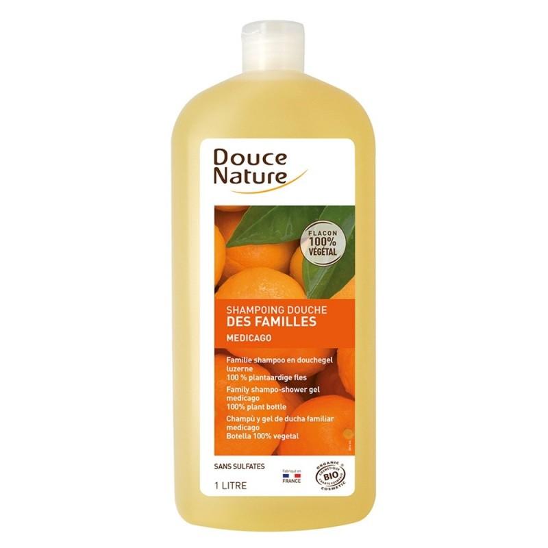 Sampon dus cu lucerna si aroma de portocale fara sulfati (1L), Douce Nature