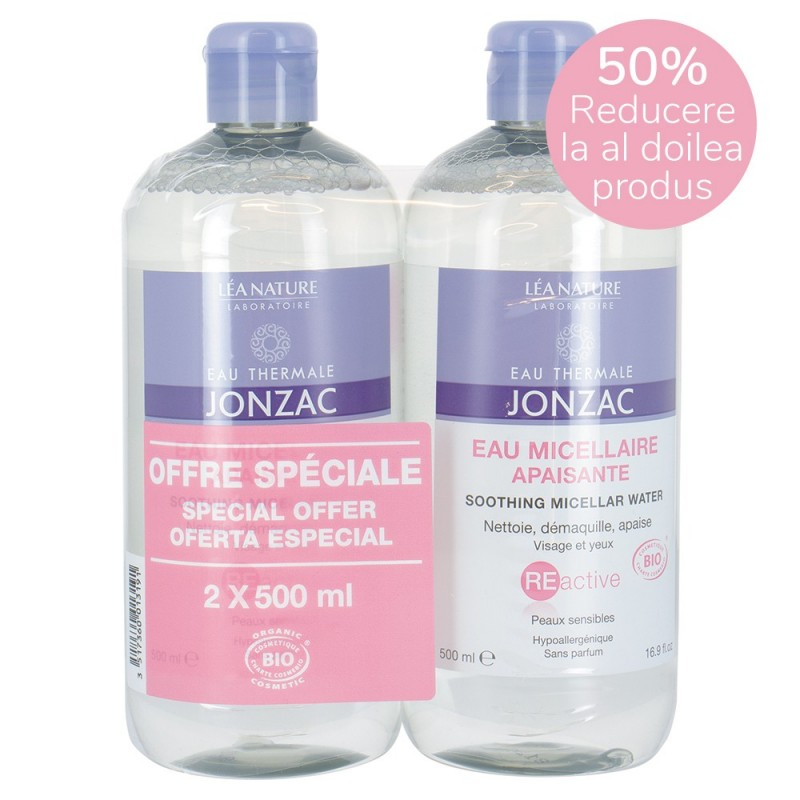 Reactive - Apa micelara calmanta - Oferta speciala 2x(500ml), Jonzac