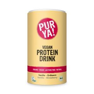 Bautura proteica vegana cu aroma de vanilie si capsuni, bio (550 grame), Pur Ya!