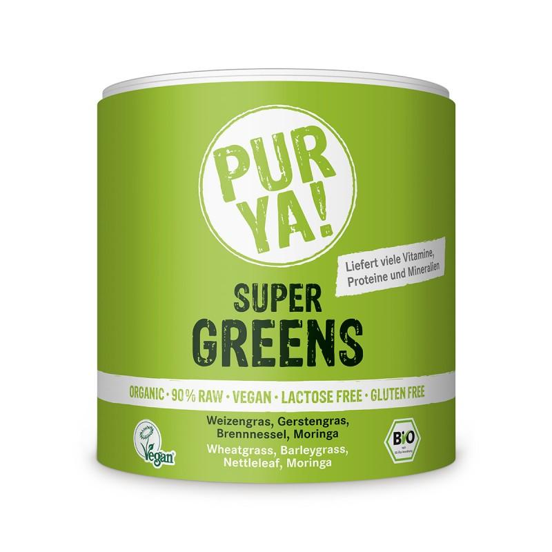 Super Greens raw bio, pulbere fara gluten (150 grame), Pur Ya!