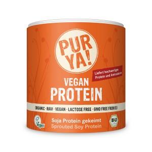 Proteina vegana din soia germinata raw bio, pulbere (250 grame), Pur Ya!