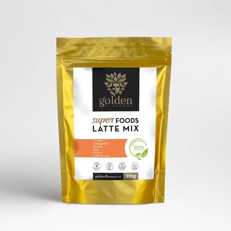 Superfoods Latte Mix Pachet 3 bucati + 1 gratis (210 grame), Golden Flavours