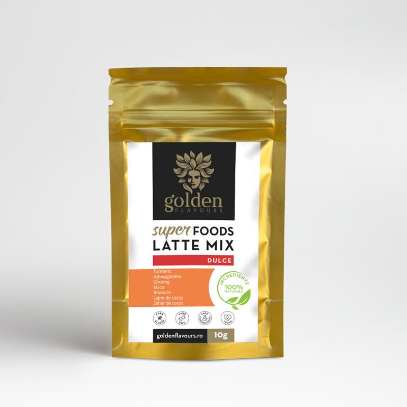 Superfoods Latte Mix Dulce Pachet 5 bucati + 1 gratis (10 grame), Golden Flavours