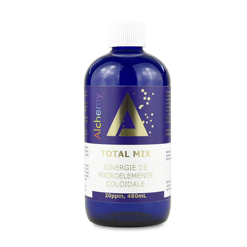 Total Mix Sinergie de aur, argint, platina, cupru, zinc, magneziu, vanadiu, crom coloidal 20ppm (480 ml), Pure Alchemy
