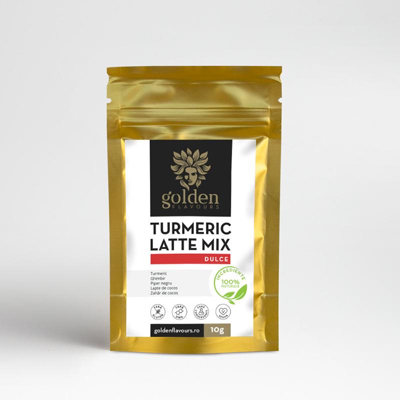 Turmeric Latte Mix Dulce Pachet 5 bucati + 1 gratis (10 grame), Golden Flavours