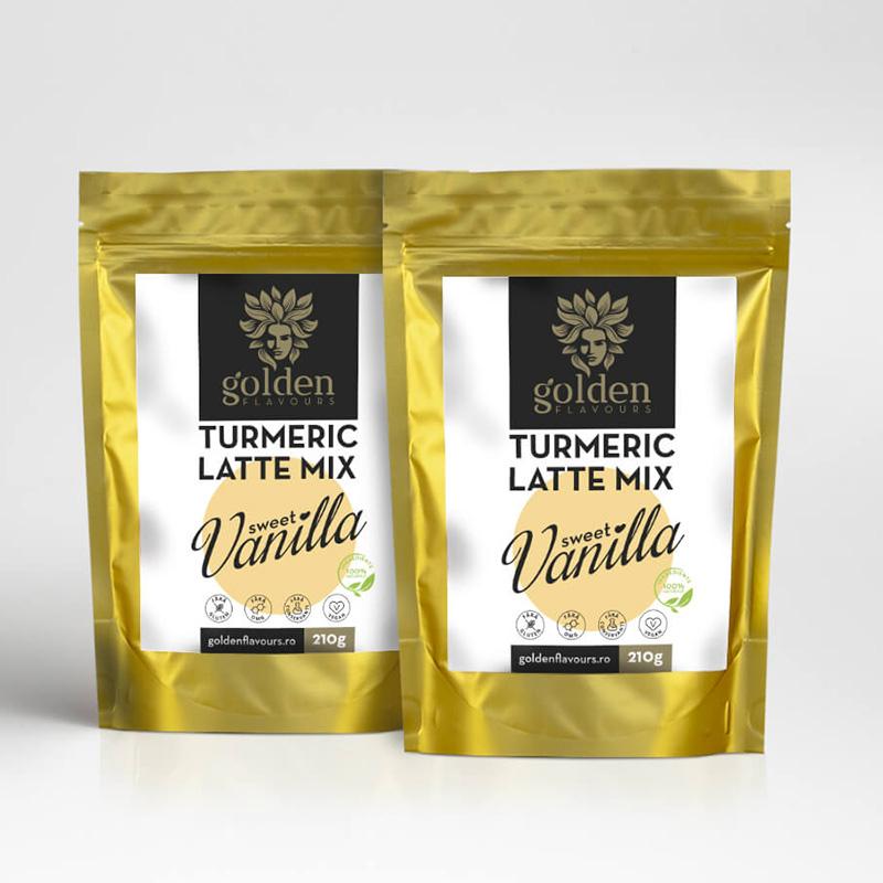 Turmeric Latte Mix Sweet Vanilla Pachet 2 bucati (210 grame), Golden Flavours