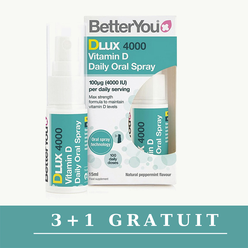 Promo 3+1 Gratuit DLux 4000 Vitamin D Oral Spray (15ml), BetterYou