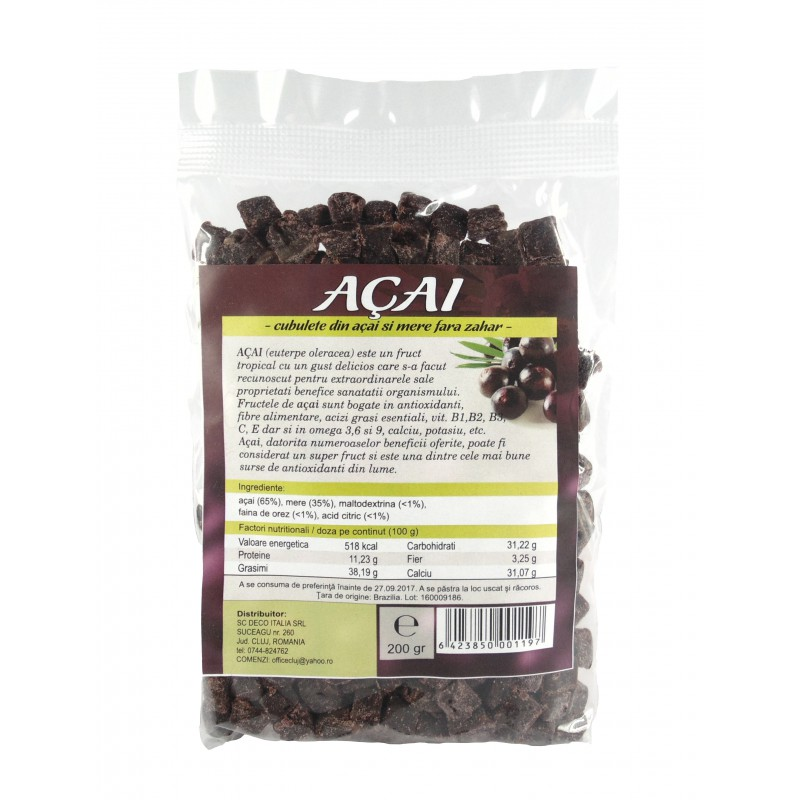 Fructe uscate acai si mar cuburi (200 grame), Deco Italia