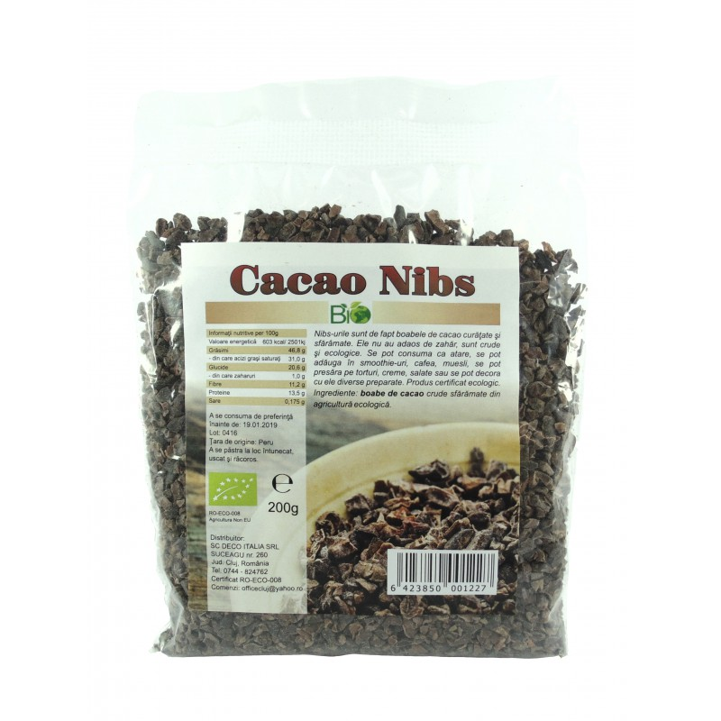 Cacao nibs (miez) bio crud (200 grame), Deco Italia
