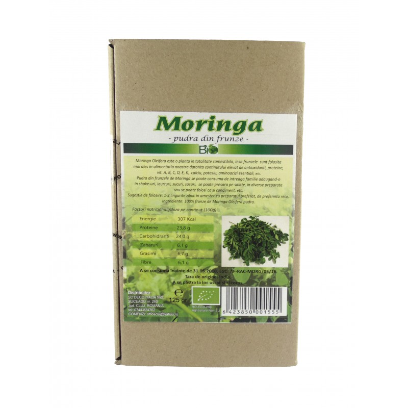 Moringa-pudra din frunze (125g), Deco Italia