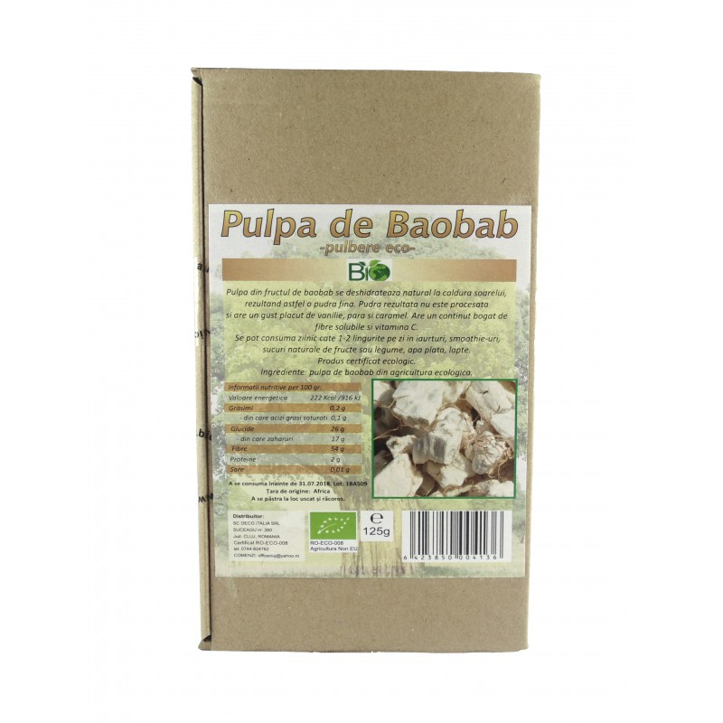 Pulpa de baobab pulbere eco (125g), Deco Italia