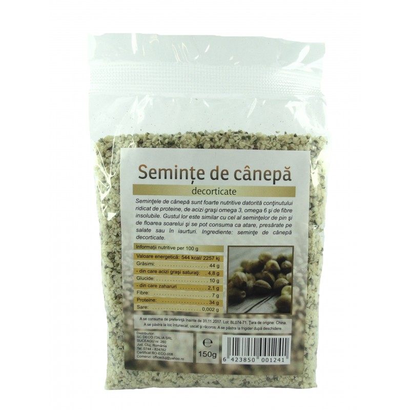 Seminte de canepa decorticate eco (225 grame), Deco Italia
