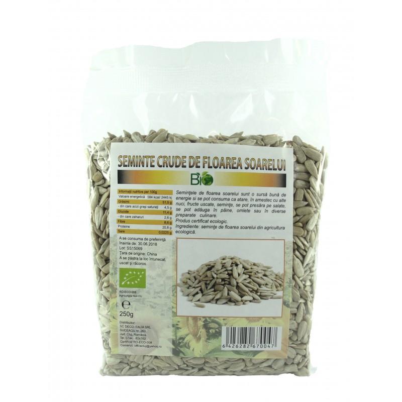 Seminte de floarea soarelui RAW (250 grame), Deco Italia