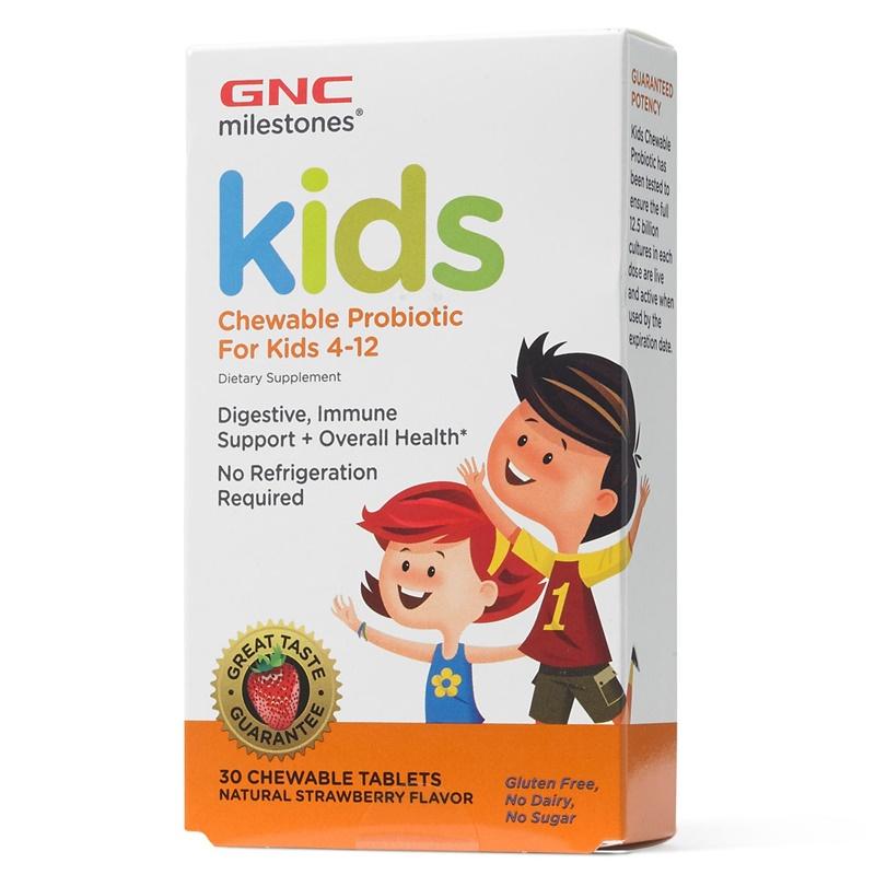 Kids Probiotice masticabile 12.5 bil pentru copii intre 4-12 ani (30 capsule), GNC Milestones