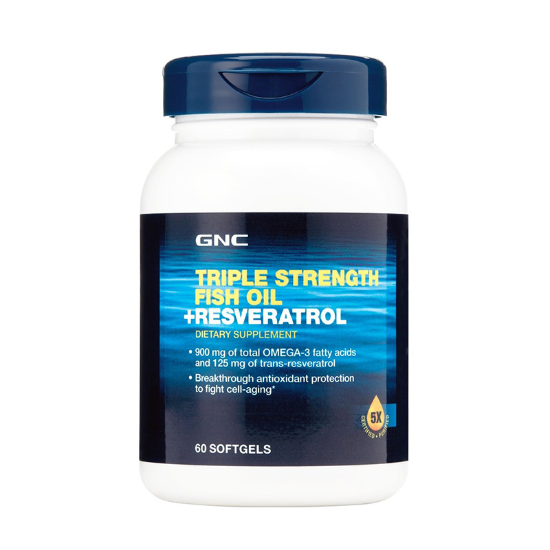Triple Strength Ulei de peste plus Resveratrol (60 capsule), GNC