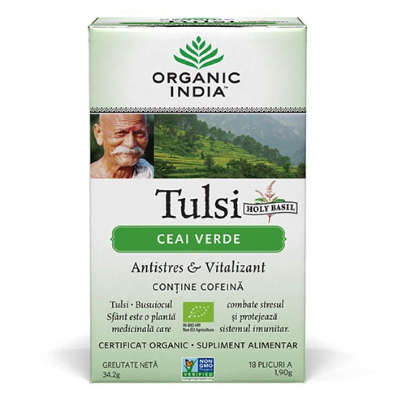 Ceai Verde Tulsi (34,2 grame, 18 plicuri), Organic India