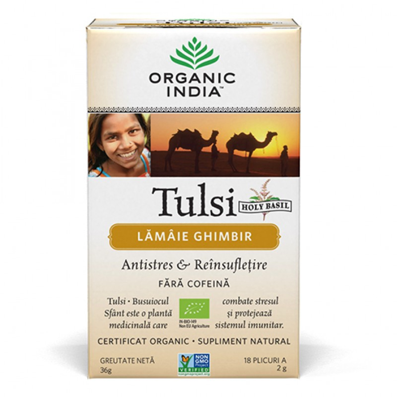 Tulsi Lemon Ginger (36 grame, 18 pliculete), Organic India