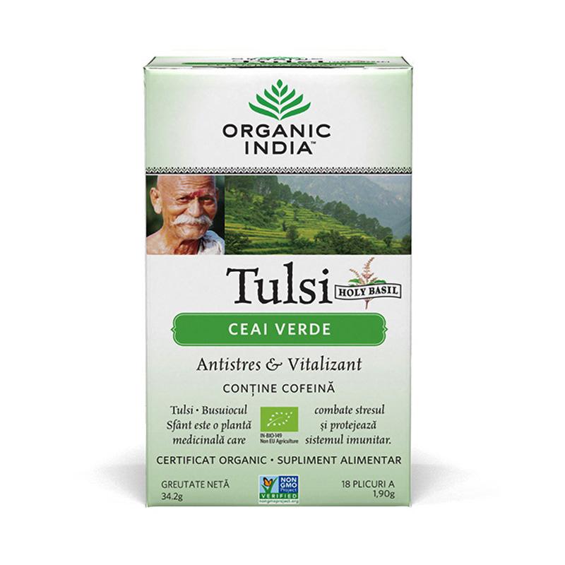 Ceai Tulsi Ceai Verde (18 plicuri infuzie) , Organic India