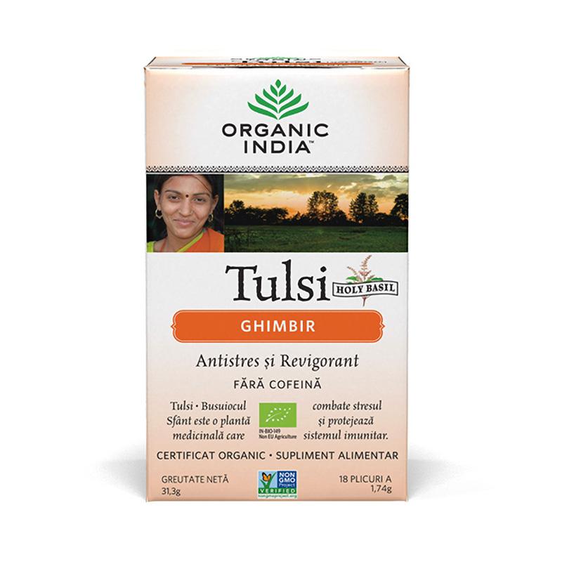 Ceai Tulsi Ghimbir (18 plicuri infuzie) , Organic India