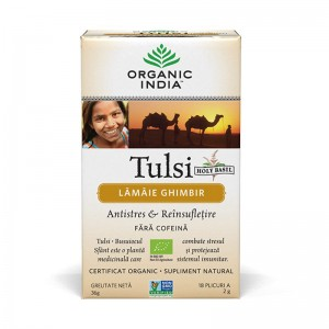 Ceai Tulsi Lamaie si Ghimbir (18 plicuri infuzie) , Organic India