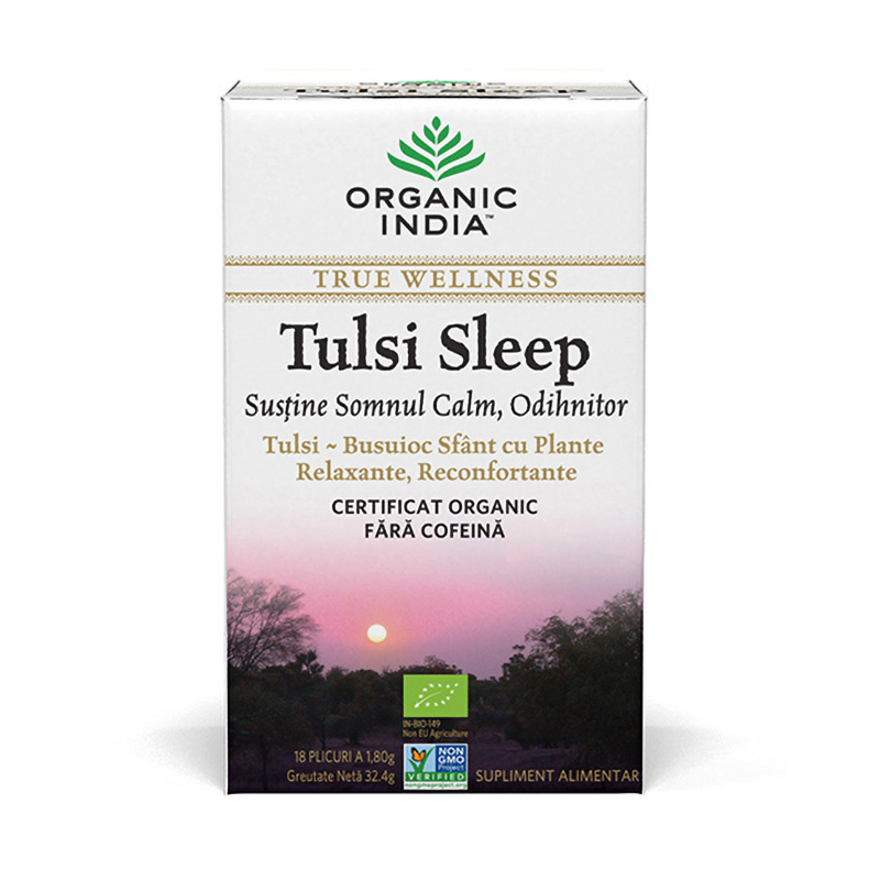 Ceai Tulsi Sleep - pentru somn calm, odihnitor (18 plicuri infuzie) , Organic India