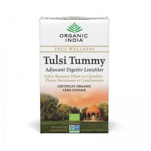 Ceai Tulsi Tummy - digestiv cu plante linistitoare si condimente (18 plicuri infuzie) , Organic India