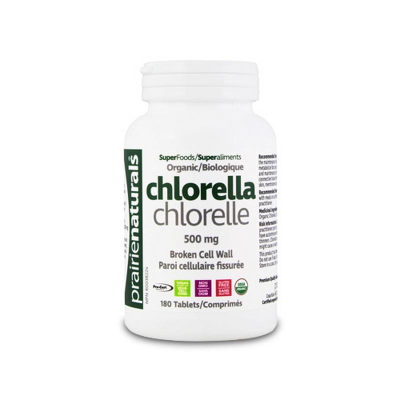 Chlorella 500 mg (180 tablete), Prairie Naturals