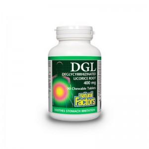 DGL Extract din radacina de lemn dulce 400 mg (90 tablete), Natural Factors