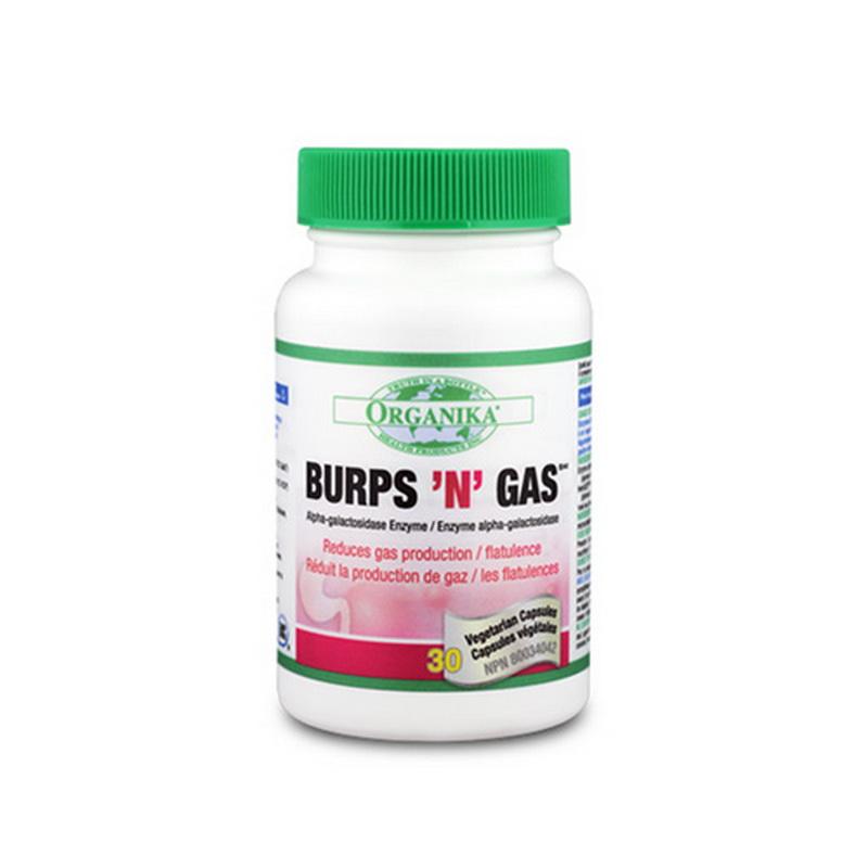 Burps'n'Gas Neutralizeaza gazele din stomac (30 capsule), Organika Canada