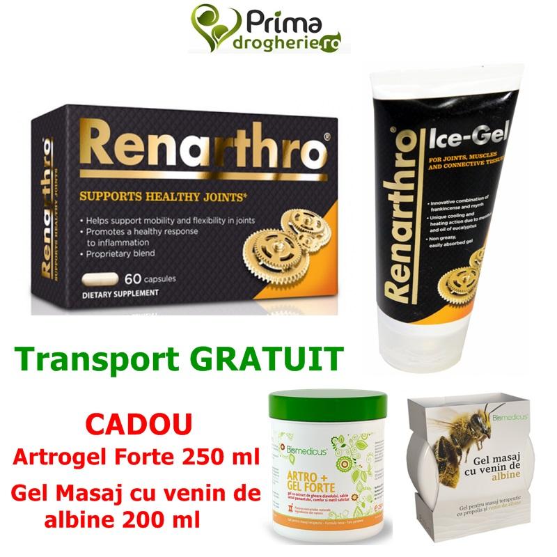 Pachet Renarthro (60 capsule) + Renarthro Ice Gel (150 ml) + CADOU- Artrogel forte (250 ml) + Crema cu venin de albine (200 ml)
