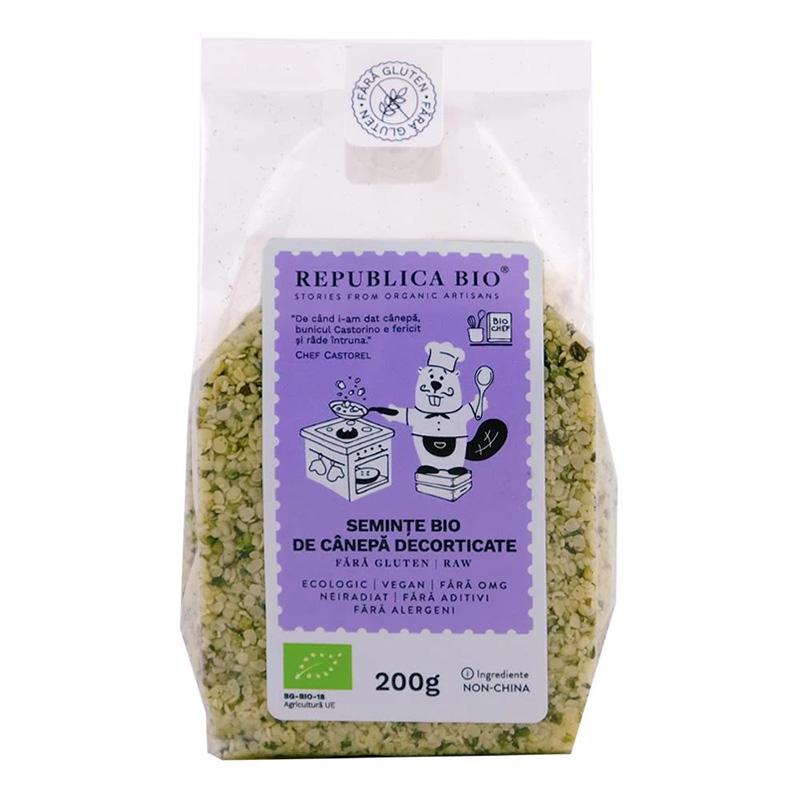 Seminte de canepa decorticate fara gluten (200 grame), Republica Bio