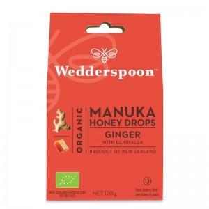 Bomboane (Dropsuri) ecologice cu miere de Manuka, ghimbir si echinacea (120 grame), Wedderspoon