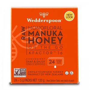 Miere de Manuka KFactor 16 RAW (24 plicuri x 5 grame), Wedderspoon
