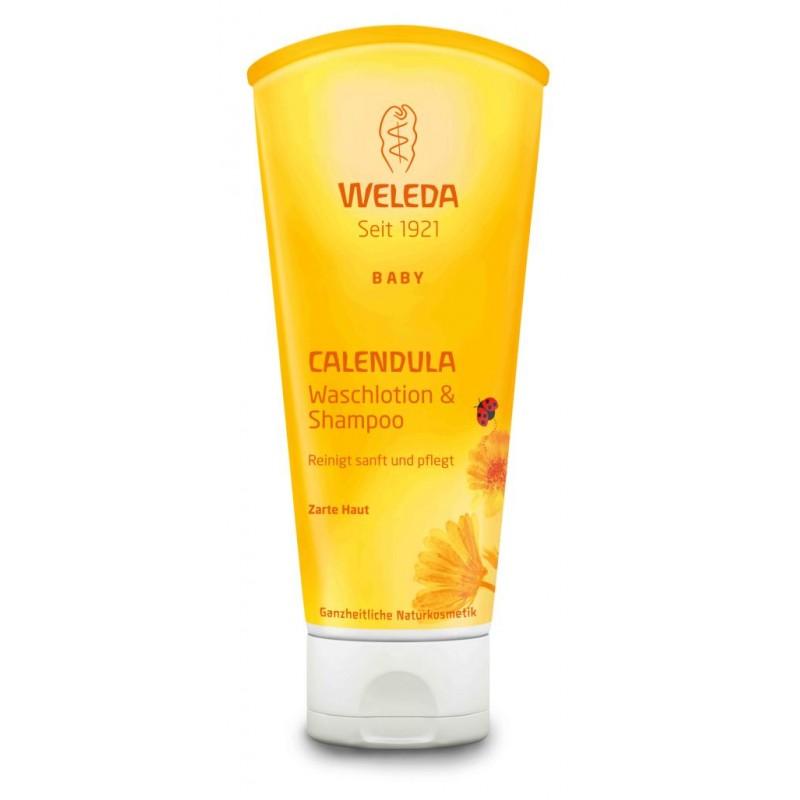 Baby Loţiune de Curăţare & Şampon cu Gălbenele (200 ml), Weleda