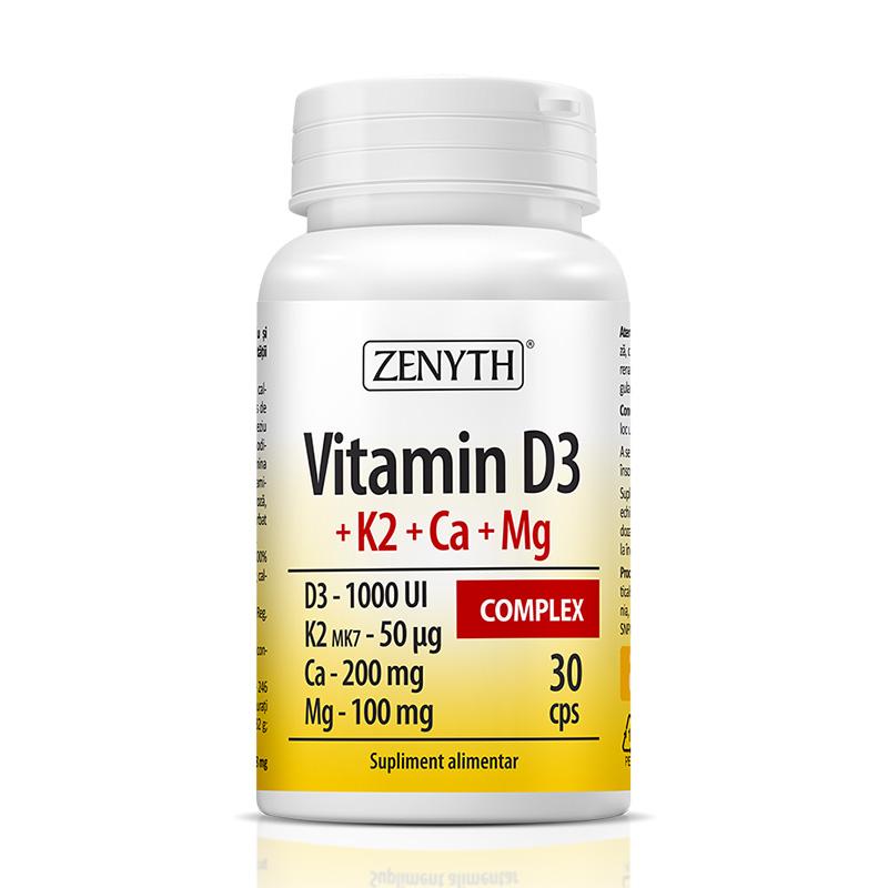 Vitamina D3 + K2 + Ca + Mg Complex (30 capsule), Zenyth Pharmaceuticals