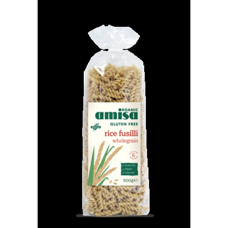 Fusilli din orez integral fara gluten bio (500 grame), Amisa