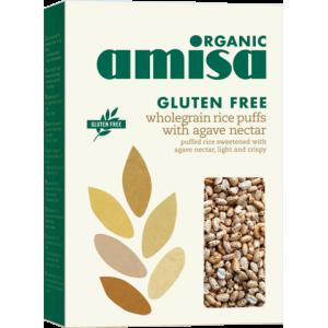 Orez integral expandat cu sirop de agave fara gluten bio (225 grame), Amisa