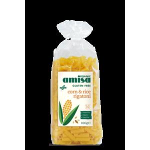 Paste rigatoni din orez si porumb fara gluten bio (500 grame), Amisa