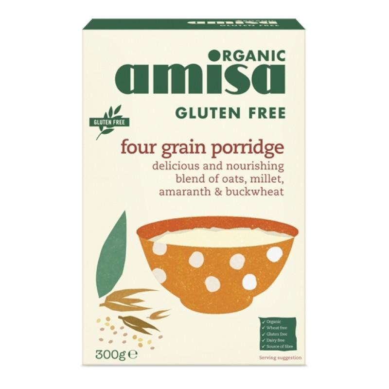 Porridge din 4 cereale fara gluten bio (300 grame), Amisa