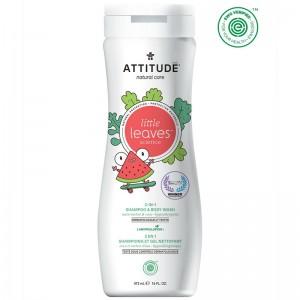 Little Leaves 2 in 1 shampon si gel de dus, pepene si cocos (473 ml), Attitude