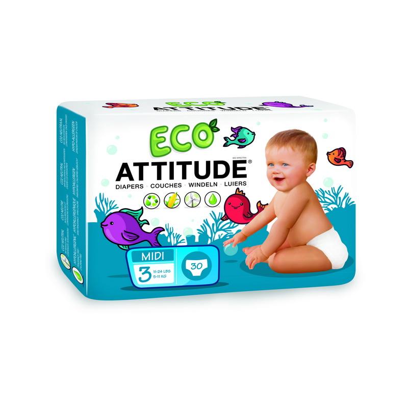 Scutece ecologice de unica folosinta marime 3 (5-11kg) (30 bucati), Attitude
