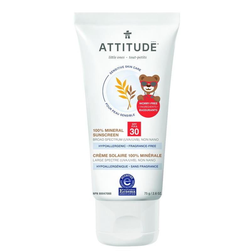 Sensitive Skin Baby Lotiune protectie solara, SPF 30, fara miros (75 grame), Attitude