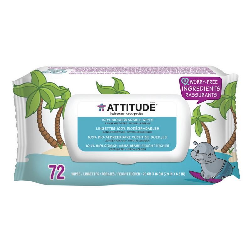Şerveţele umede pentru bebelusi 100% biodegradabile, fara miros (72 bucati), Attitude