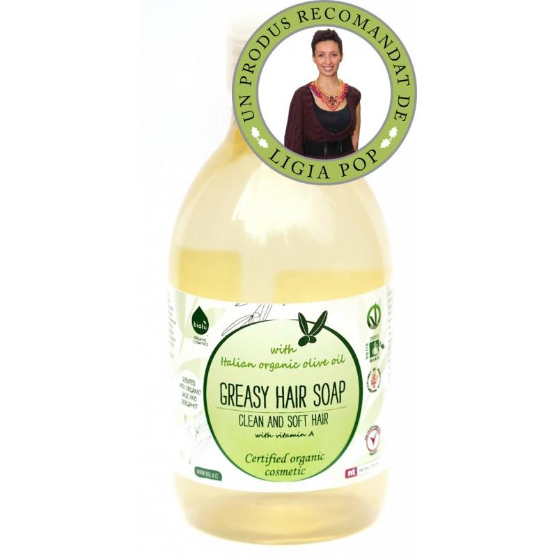 Sampon ecologic cu ulei de masline pentru par gras (300ml), Biolu