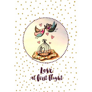 "Felicitare ilustrata ""Love at first flight"", Choofi"